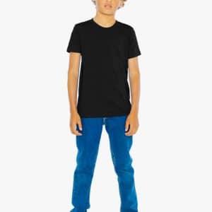Black American Apparel YOUTH FINE JERSEY SHORT SLEEVE T-SHIRT Gyermek ruházat