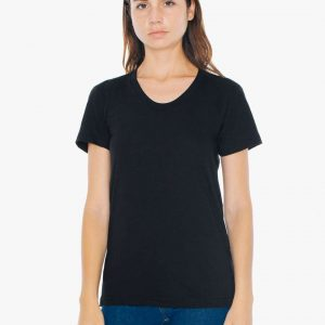 Heather Black American Apparel WOMEN'S POLY-COTTON SHORT SLEEVE T-SHIRT Pólók/T-Shirt