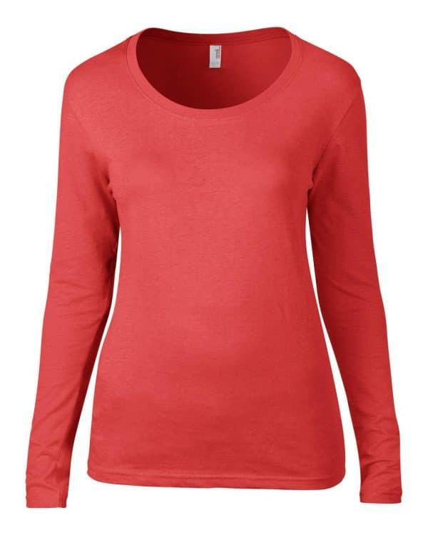 Coral Anvil WOMEN'S FEATHERWEIGHT LONG SLEEVE SCOOP TEE Pólók/T-Shirt