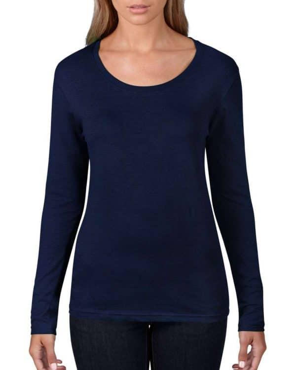 Navy Anvil WOMEN'S FEATHERWEIGHT LONG SLEEVE SCOOP TEE Pólók/T-Shirt