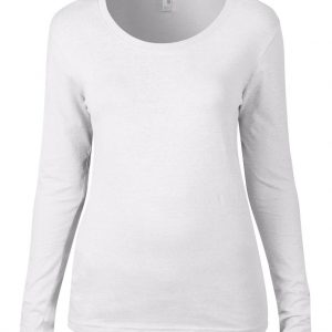 White Anvil WOMEN'S FEATHERWEIGHT LONG SLEEVE SCOOP TEE Pólók/T-Shirt