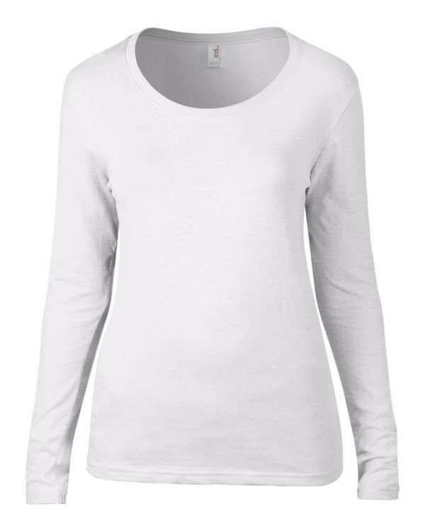White Anvil WOMEN'S FEATHERWEIGHT LONG SLEEVE SCOOP TEE Pólók/T-Shirt