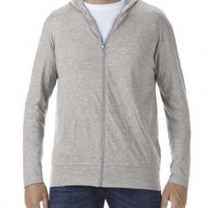 Heather Grey Anvil ADULT TRI-BLEND FULL-ZIP HOODED JACKET Pólók/T-Shirt