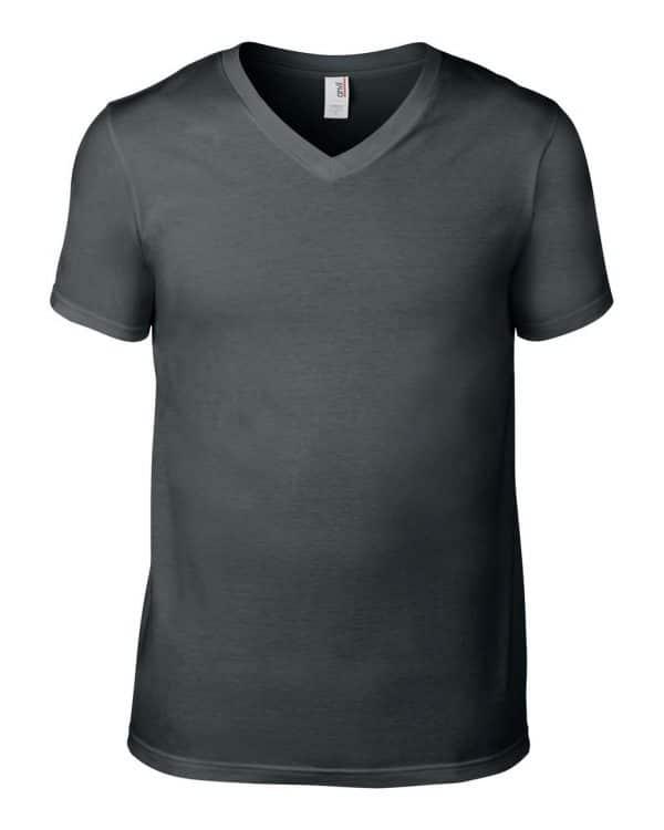 Heather Graphite Anvil ADULT LIGHTWEIGHT V-NECK TEE Pólók/T-Shirt