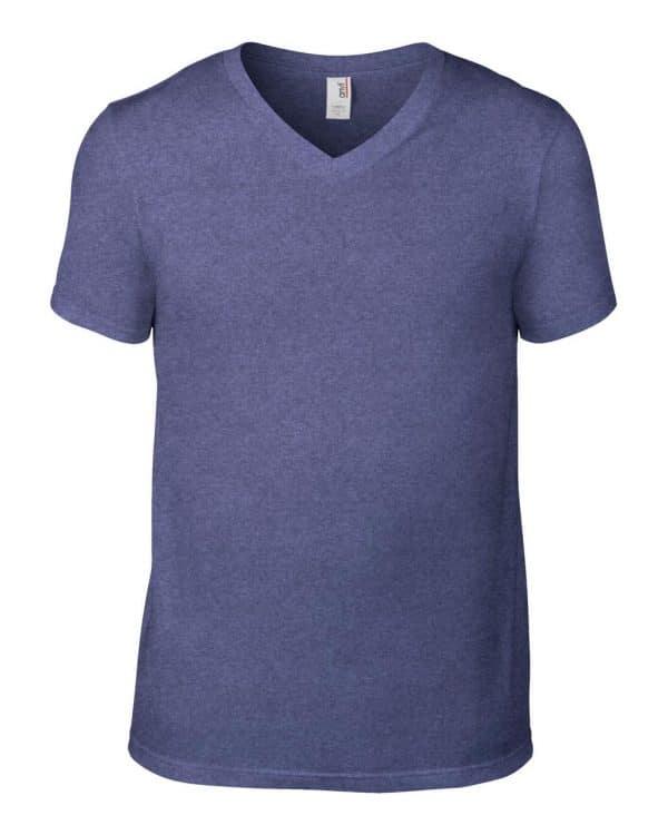 Heather Blue Anvil ADULT LIGHTWEIGHT V-NECK TEE Pólók/T-Shirt