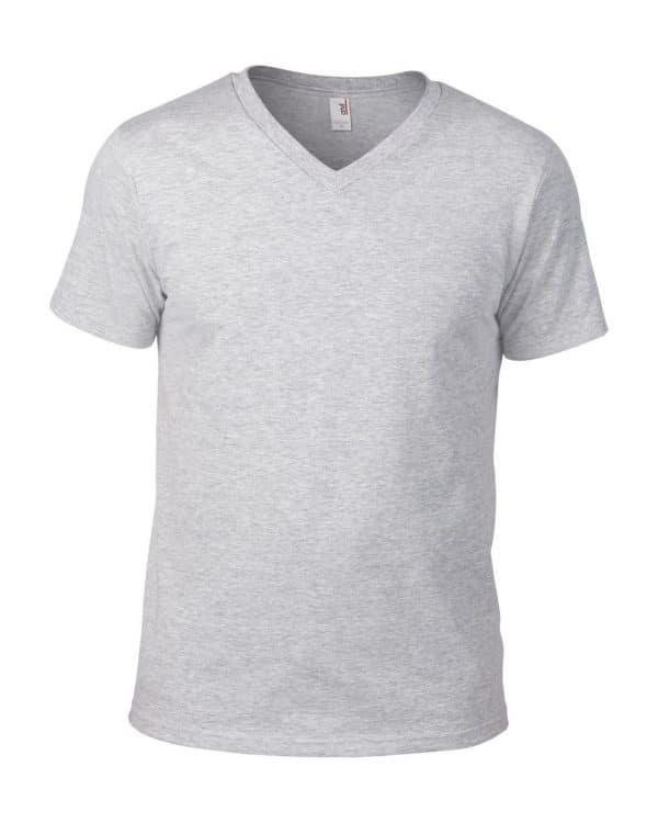 Heather Grey Anvil ADULT LIGHTWEIGHT V-NECK TEE Pólók/T-Shirt