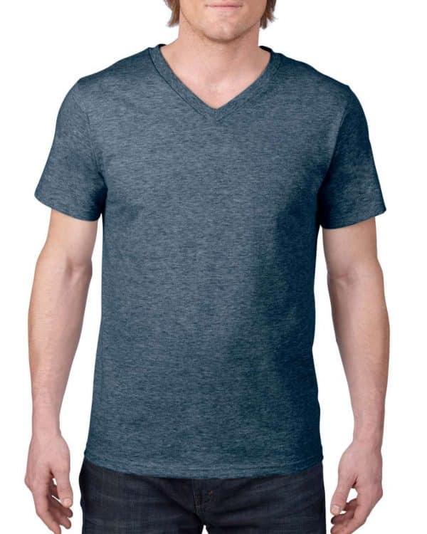 Heather Navy Anvil ADULT LIGHTWEIGHT V-NECK TEE Pólók/T-Shirt