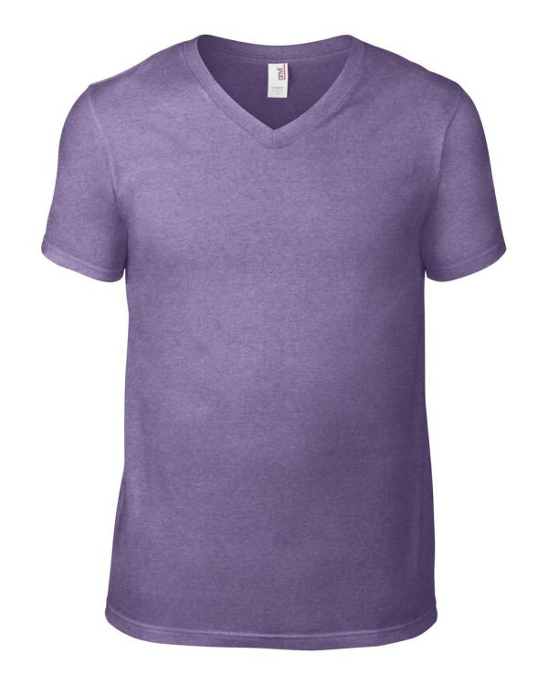 Heather Purple Anvil ADULT LIGHTWEIGHT V-NECK TEE Pólók/T-Shirt