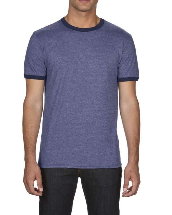 Heather Blue/Navy Anvil ADULT LIGHTWEIGHT RINGER TEE Pólók/T-Shirt