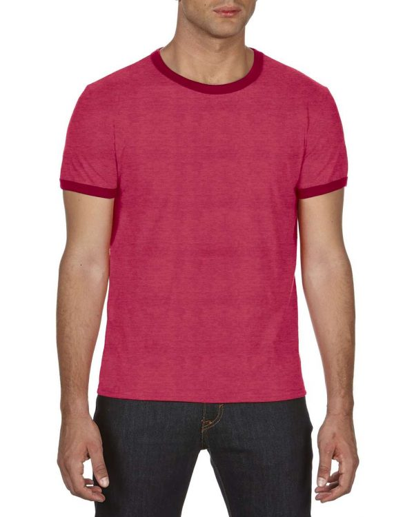 Heather Red/Red Anvil ADULT LIGHTWEIGHT RINGER TEE Pólók/T-Shirt