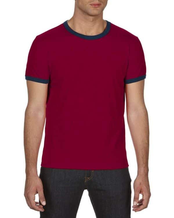 Independence Red/Navy Anvil ADULT LIGHTWEIGHT RINGER TEE Pólók/T-Shirt