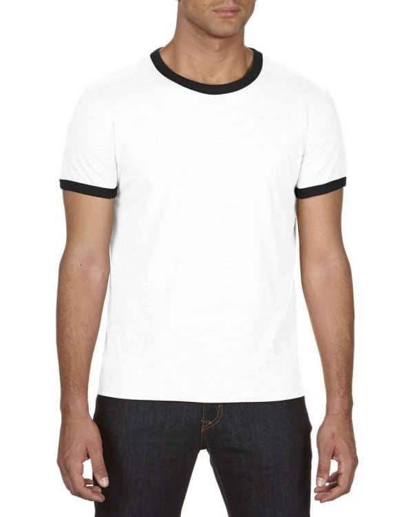 White/Red Anvil ADULT LIGHTWEIGHT RINGER TEE Pólók/T-Shirt