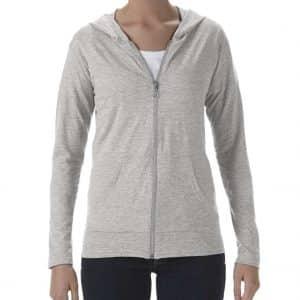 Heather Grey Anvil WOMEN'S TRI-BLEND FULL-ZIP HOODED JACKET Pólók/T-Shirt
