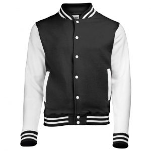 Jet Black/Orange Crush Just Hoods VARSITY JACKET Pulóverek