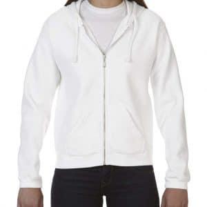 White Comfort Colors LADIES' FULL ZIP HOODED SWEATSHIRT Pulóverek