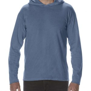 Blue Jean Comfort Colors ADULT HEAVYWEIGHT LONG SLEEVE HOODED TEE Pólók/T-Shirt