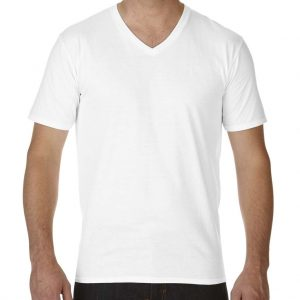 White Gildan PREMIUM COTTON® ADULT V-NECK T-SHIRT Pólók/T-Shirt