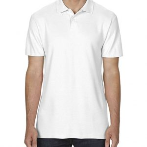 White Gildan SOFTSTYLE® ADULT DOUBLE PIQUÉ POLO Galléros pólók