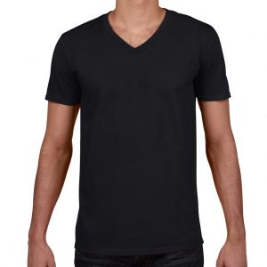 Black Gildan SOFTSTYLE® ADULT V-NECK T-SHIRT Pólók/T-Shirt