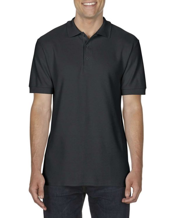 Black Gildan PREMIUM COTTON® ADULT DOUBLE PIQUÉ POLO Galléros pólók