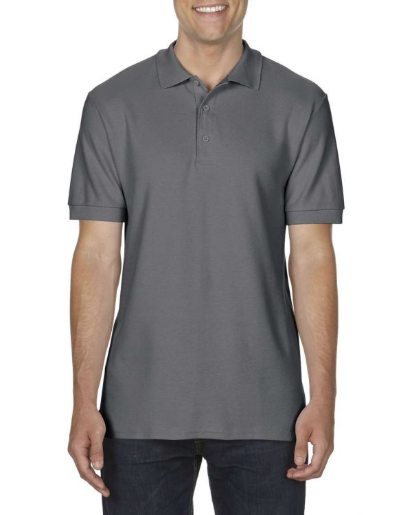 Charcoal Gildan PREMIUM COTTON® ADULT DOUBLE PIQUÉ POLO Galléros pólók