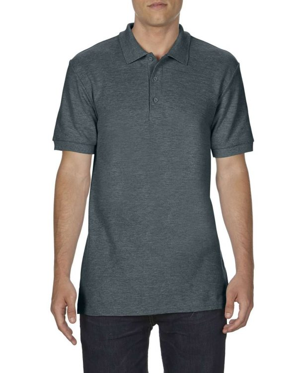 Dark Heather Gildan PREMIUM COTTON® ADULT DOUBLE PIQUÉ POLO Galléros pólók