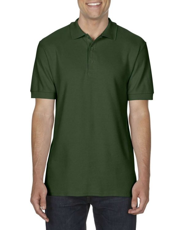 Forest Green Gildan PREMIUM COTTON® ADULT DOUBLE PIQUÉ POLO Galléros pólók