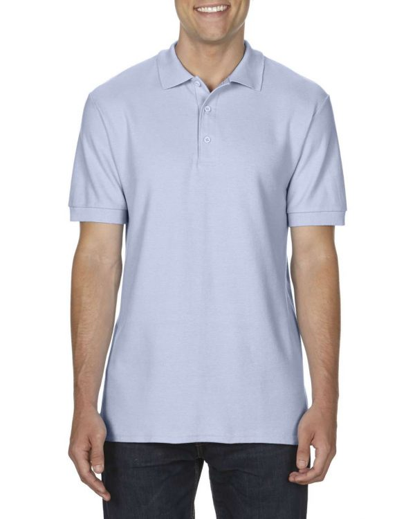 Light Blue Gildan PREMIUM COTTON® ADULT DOUBLE PIQUÉ POLO Galléros pólók