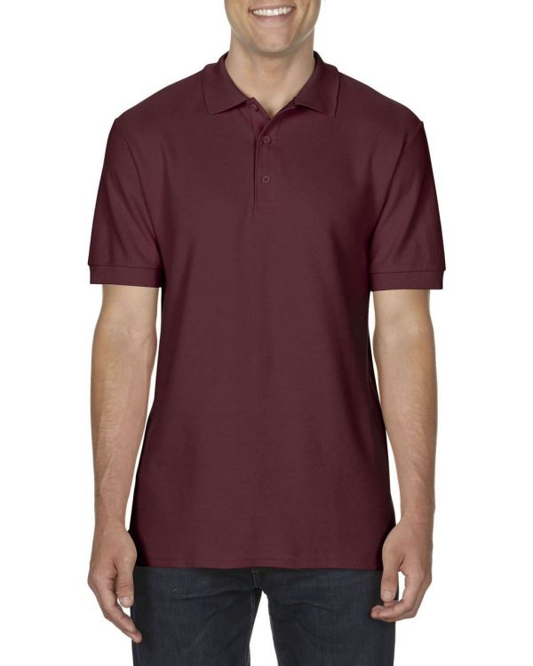 Maroon Gildan PREMIUM COTTON® ADULT DOUBLE PIQUÉ POLO Galléros pólók