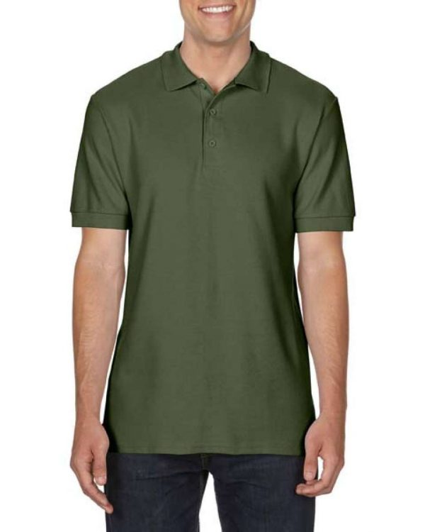 Military Green Gildan PREMIUM COTTON® ADULT DOUBLE PIQUÉ POLO Galléros pólók