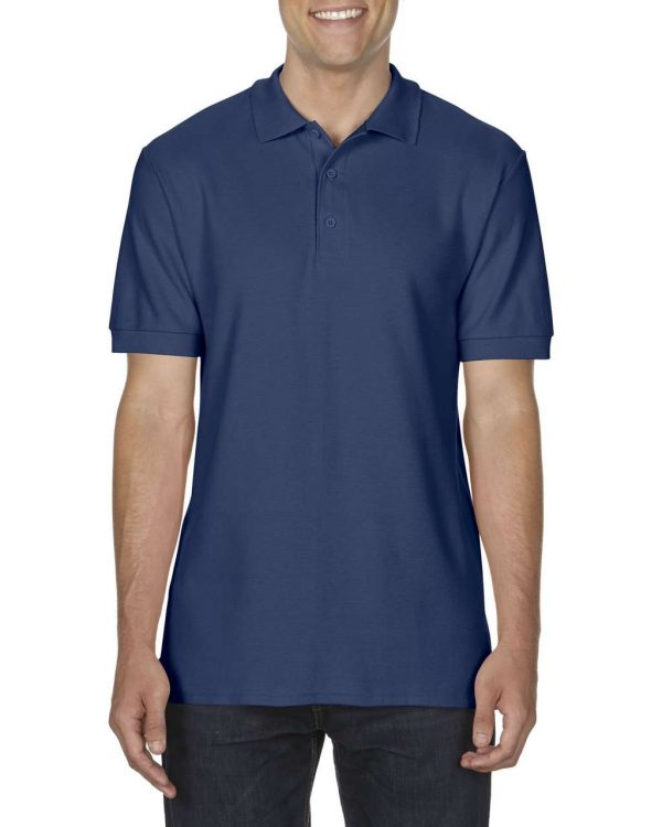 Navy Gildan PREMIUM COTTON® ADULT DOUBLE PIQUÉ POLO Galléros pólók