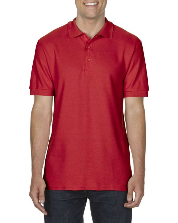 Red Gildan PREMIUM COTTON® ADULT DOUBLE PIQUÉ POLO Galléros pólók