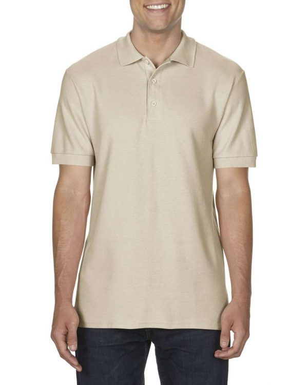 Sand Gildan PREMIUM COTTON® ADULT DOUBLE PIQUÉ POLO Galléros pólók