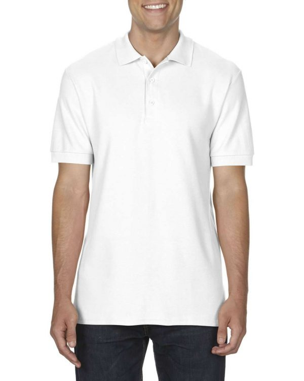 White Gildan PREMIUM COTTON® ADULT DOUBLE PIQUÉ POLO Galléros pólók