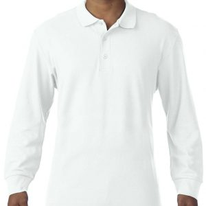 White Gildan PREMIUM COTTON® ADULT LONG SLEEVE DOUBLE PIQUÉ POLO Galléros pólók