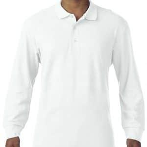 White Gildan PREMIUM COTTON® ADULT LONG SLEEVE DOUBLE PIQUÉ POLO Galléros pólók