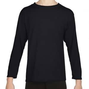 Black Gildan PERFORMANCE® YOUTH LONG SLEEVE T-SHIRT Gyermek ruházat