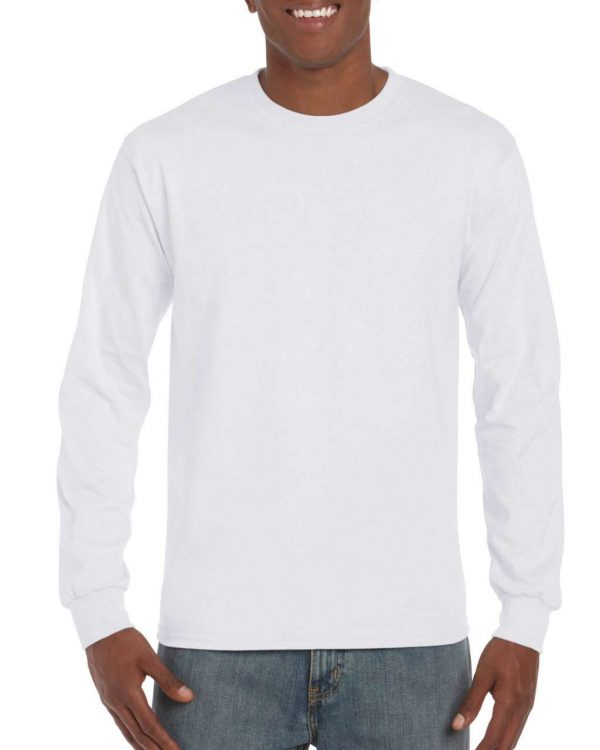 White Gildan HAMMER ADULT LONG SLEEVE T-SHIRT Pólók/T-Shirt