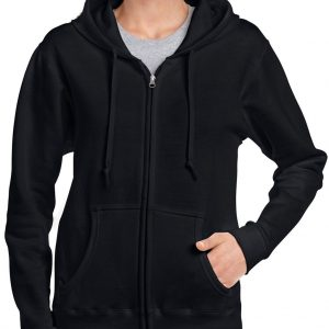 Black Gildan HEAVY BLEND™ LADIES' FULL ZIP HOODED SWEATSHIRT Pulóverek