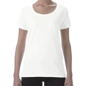 White Gildan SOFTSTYLE® LADIES' DEEP SCOOP T-SHIRT Pólók/T-Shirt