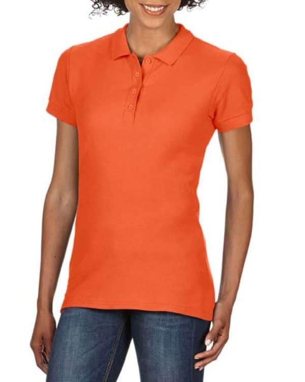 Orange Gildan SOFTSTYLE® LADIES' DOUBLE PIQUÉ POLO Galléros pólók