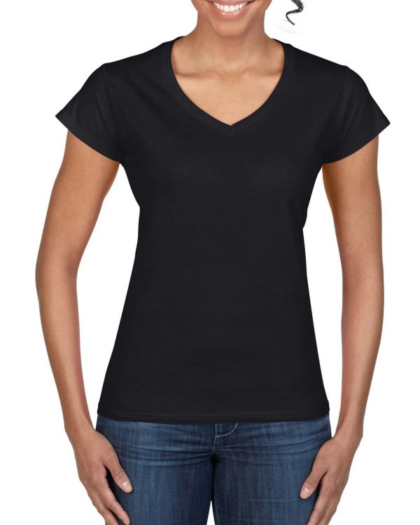 Black Gildan SOFTSTYLE® LADIES' V-NECK T-SHIRT Pólók/T-Shirt
