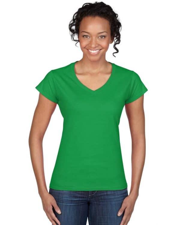 Irish Green Gildan SOFTSTYLE® LADIES' V-NECK T-SHIRT Pólók/T-Shirt