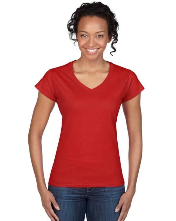 Red Gildan SOFTSTYLE® LADIES' V-NECK T-SHIRT Pólók/T-Shirt
