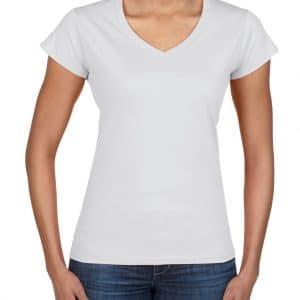 White Gildan SOFTSTYLE® LADIES' V-NECK T-SHIRT Pólók/T-Shirt