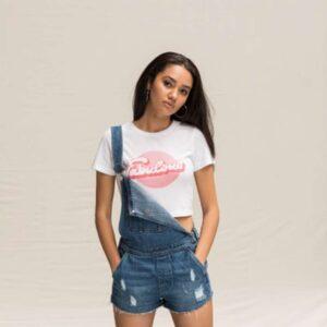 Just Ts GIRLIE TRI-BLEND CROPPED T Pólók/T-Shirt