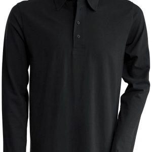 Black Kariban MEN'S LONG SLEEVE JERSEY POLO SHIRT Galléros pólók