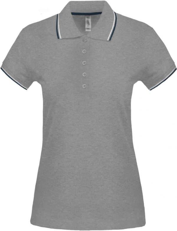 Oxford Grey/Navy/White Kariban LADIES' SHORT-SLEEVED POLO SHIRT Galléros pólók
