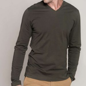Kariban MEN'S LONG SLEEVE V-NECK T-SHIRT Pólók/T-Shirt