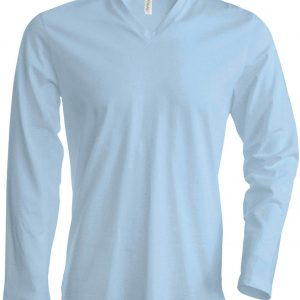 Sky Blue Kariban MEN'S LONG SLEEVE V-NECK T-SHIRT Pólók/T-Shirt
